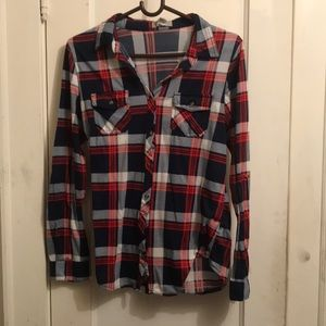 Blue and red plaid shirt